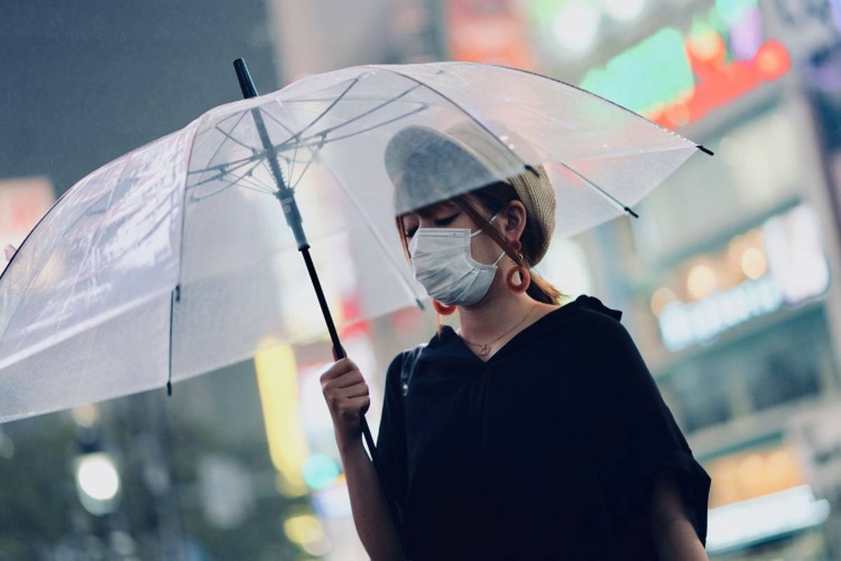 Woman with a facemask and umbrella outside at night