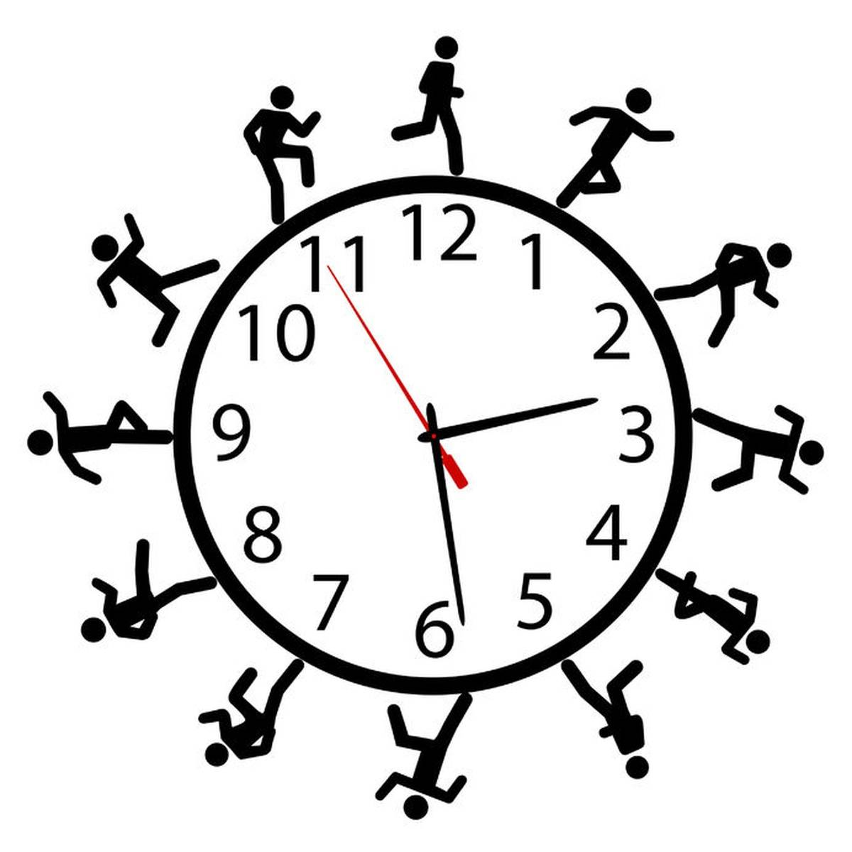 Stick figure running around a ticking clock