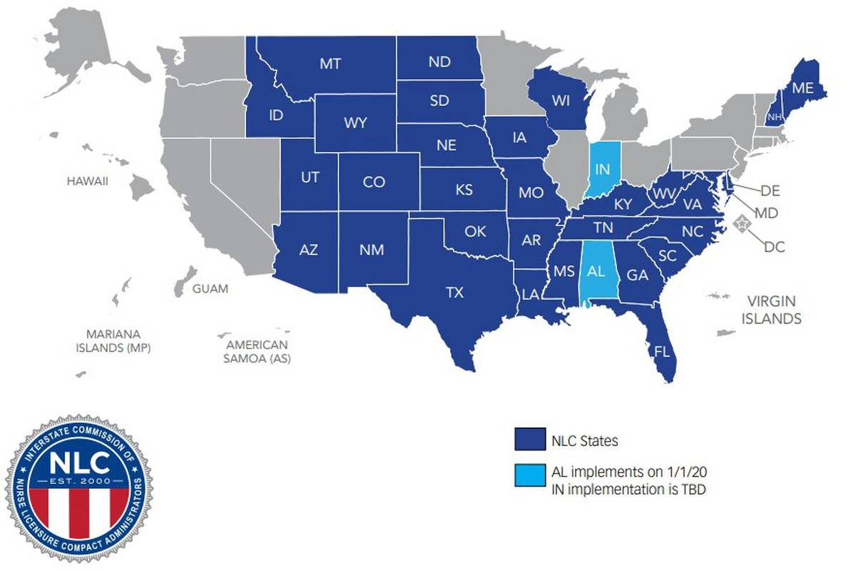 Updated Map: Enhanced Nursing Licensure Compact (eNLC) July ...