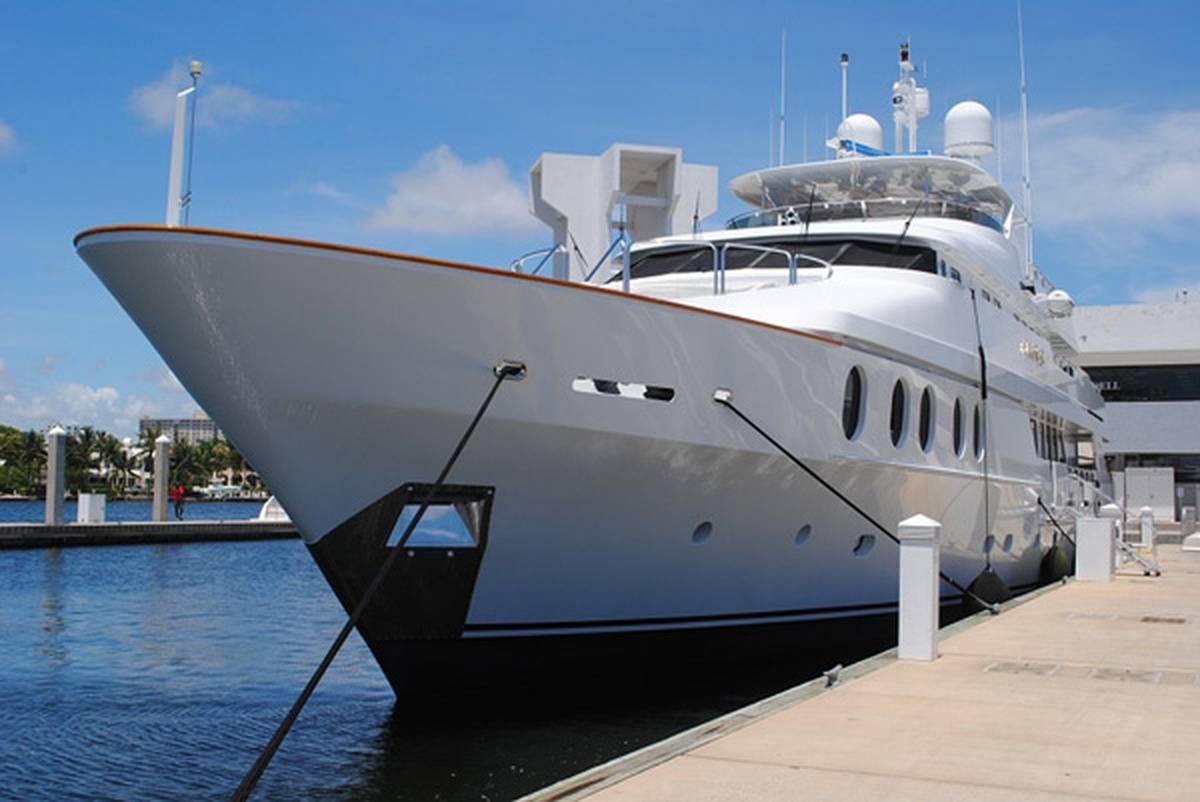 Yacht docked on a sunny day