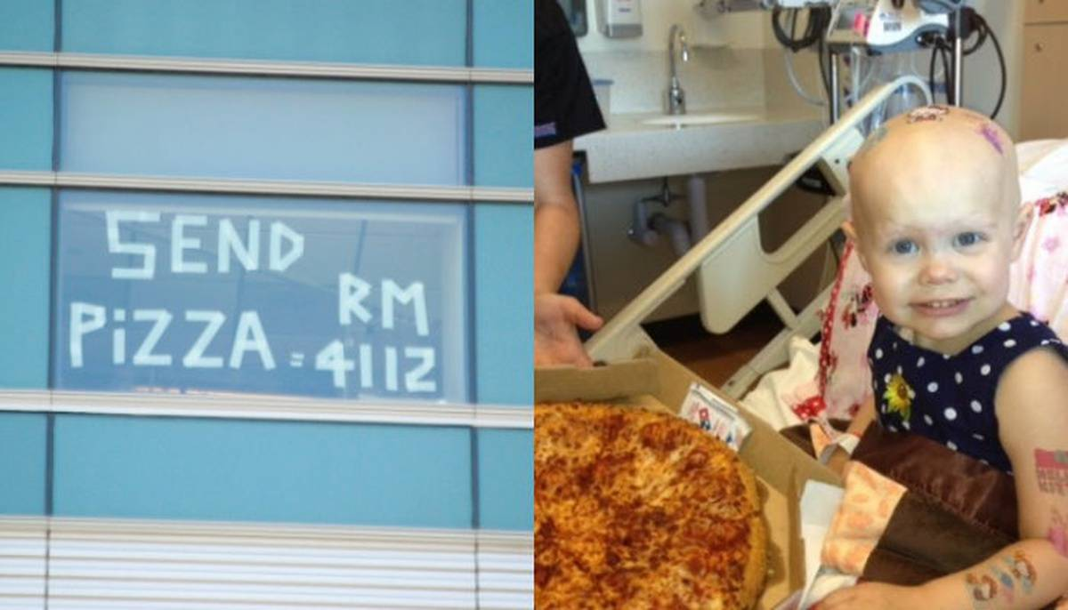 Hospital window with text saying send pizza to child cancer patient