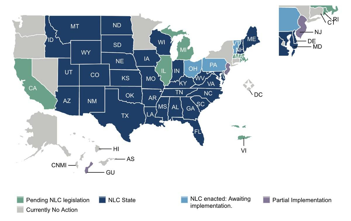 Map depicting status of current and future eNLC states