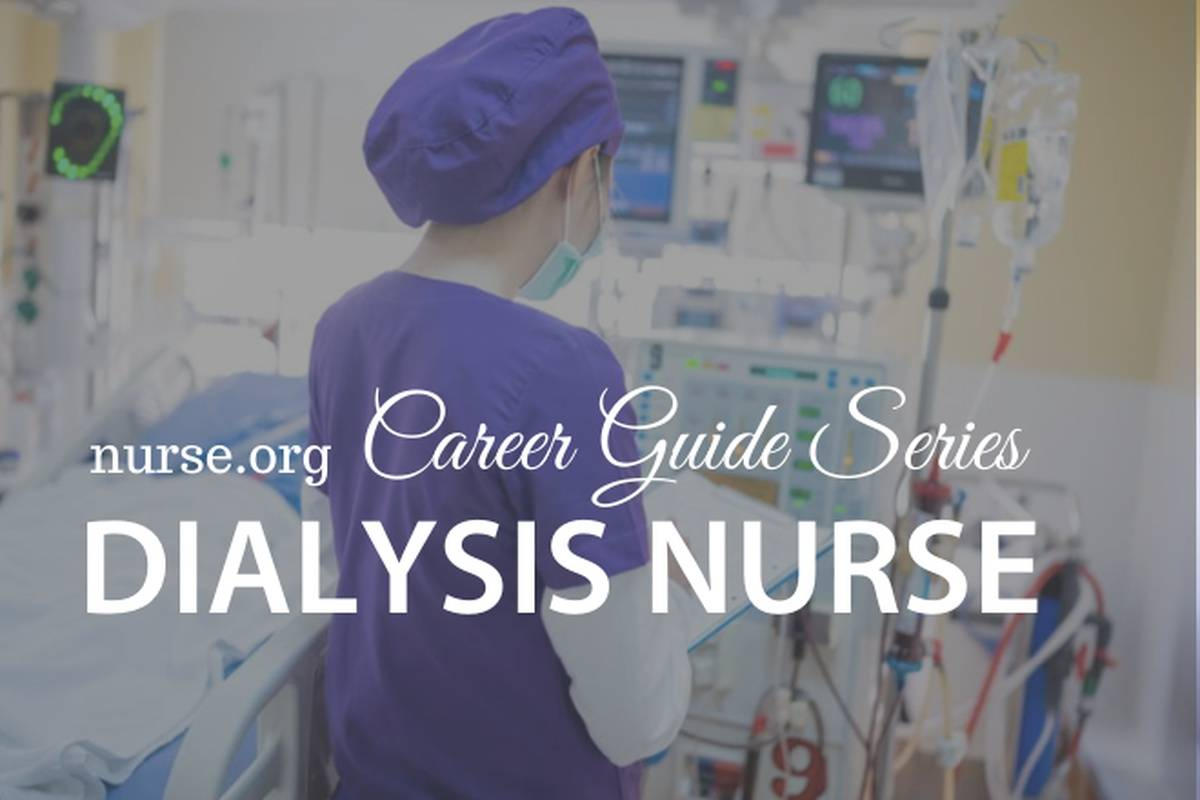 Nurse in blue scrubs and cap checking on  dialysis machine in hospital room