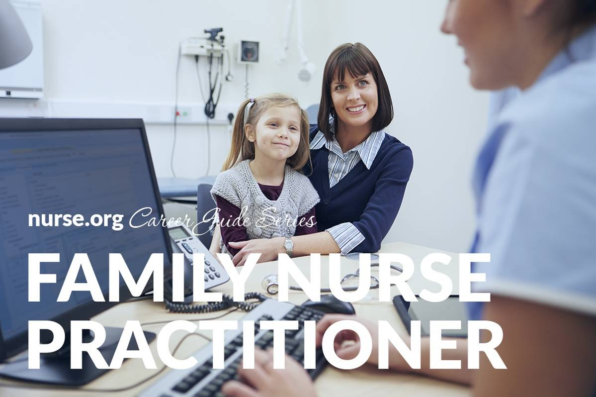 Family nurse practitioner taking notes on computer with mother and daughter in background