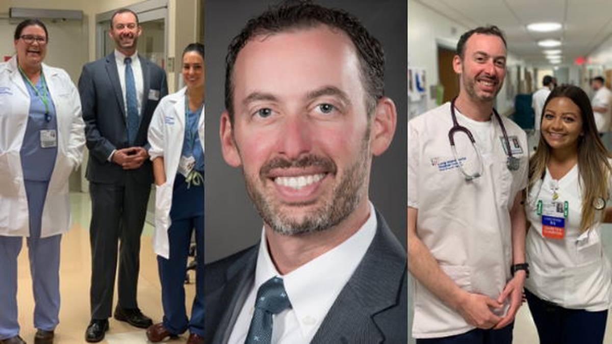 Healthcare administrator alongside nurses and doctors in hospital