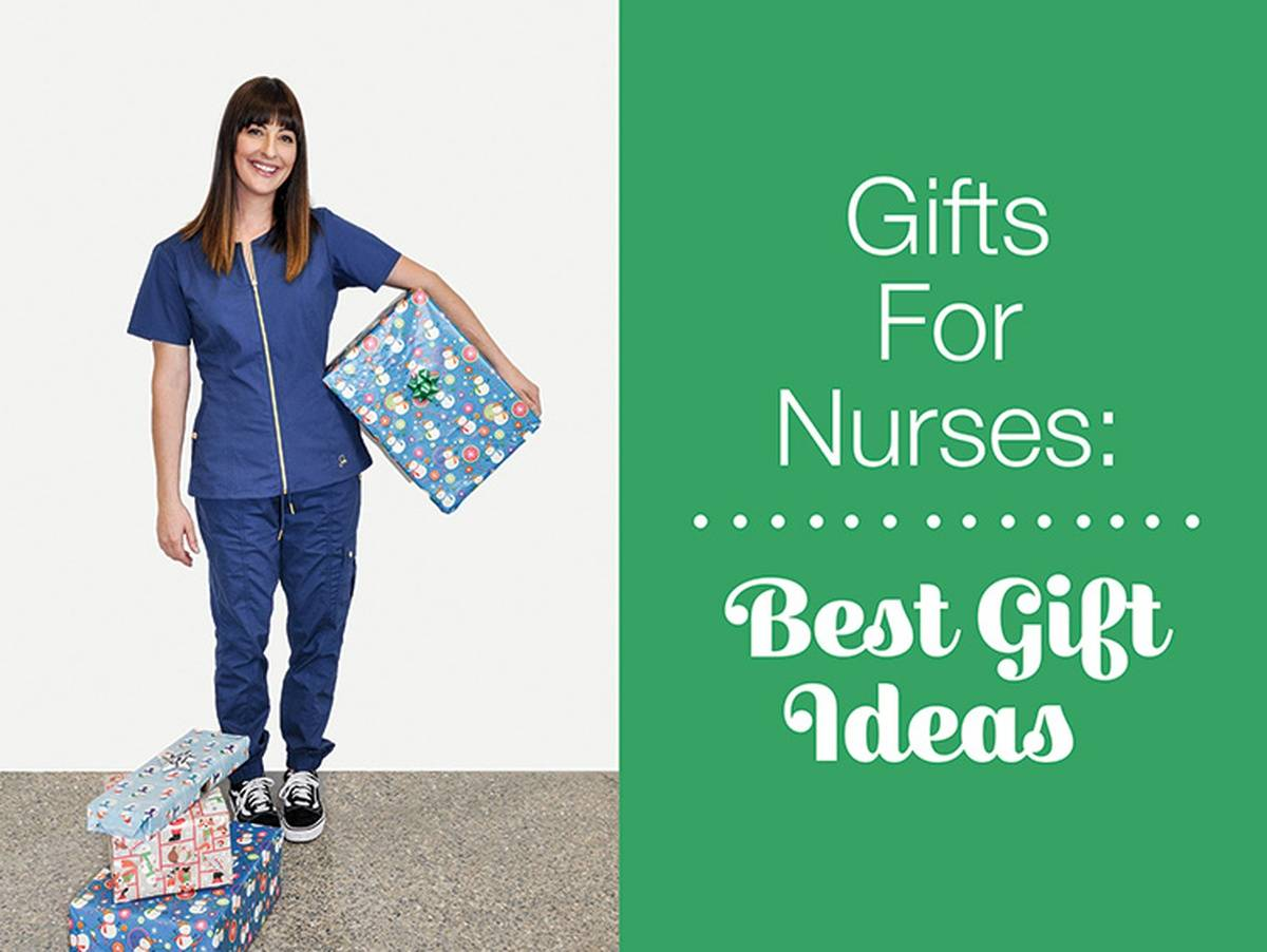 Nurse holding wrapped Christmas gifts