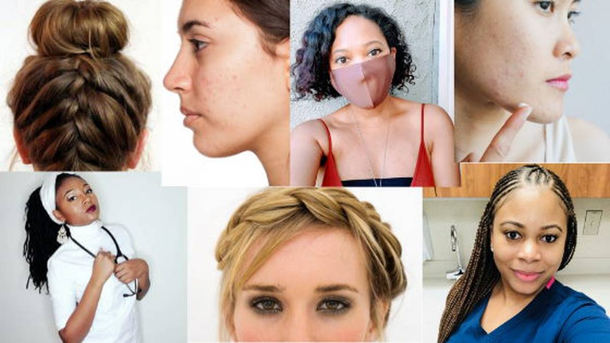 Collage of nurses sporting different haircuts