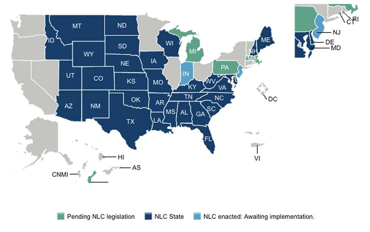 Updated Map: Enhanced Nursing Licensure Compact (eNLC) Jan. 2020