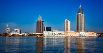 Downtown city on the river in Alabama