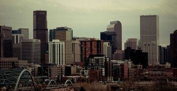 Downtown Denver on a hazy Colorado day