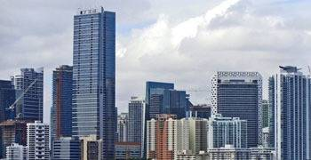 Downtown city skyline in Florida on cloudy day