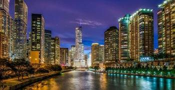 Chicago vista from the water in Illinois
