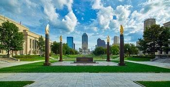Downtown city park in Indianapolis Indiana
