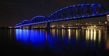 Louisville and river at night time