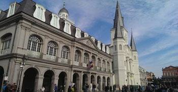 Famous state building in downtown New Orleans Louisiana