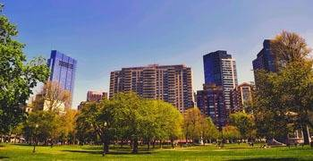 Downtown Boston during the spring