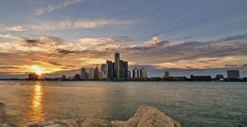 Downtown Detroit from across the Great Lakes