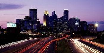 Busy traffic going in and out of downtown Minneapolis