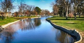 Small pond and park in Nebraska city
