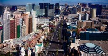 Ariel view of the Las Vegas strip in Nevada