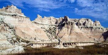 Famous badlands and mountains in North Dakota
