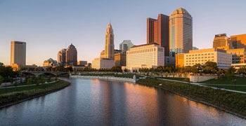 Ohio River running through downtown Ohio city