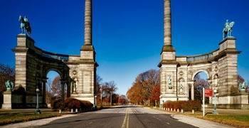 Landmark in Pennsylvania with road going through it