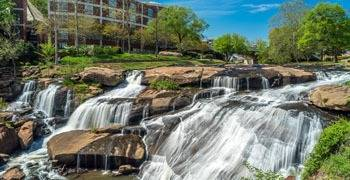 Park view with waterfalls in river in South Carolina