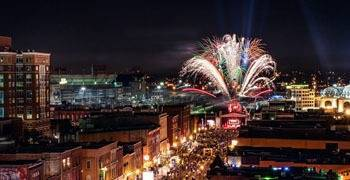 Festival in downtown Nashville Tennessee with fireworks