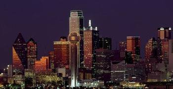 Downtown Houston Texas city skyline at night