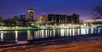 Downtown city in Kansas from the river