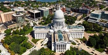 Ariel shot of the state capitol building in Wisconsin