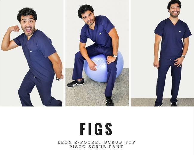 Male model wearing blue nurse scrubs