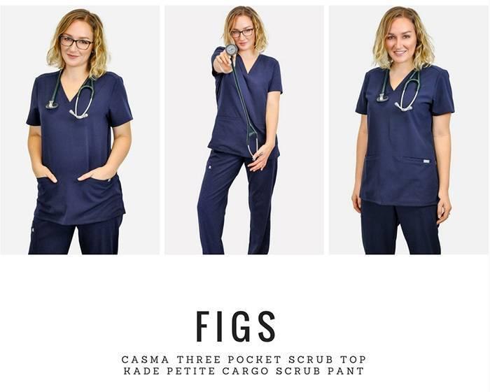 Blonde model wearing blue nurse scrubs