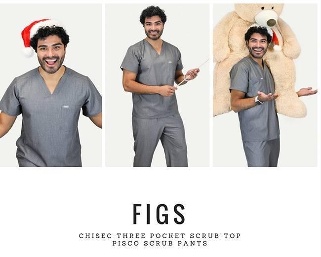 Male model wearing gray nurse scrubs