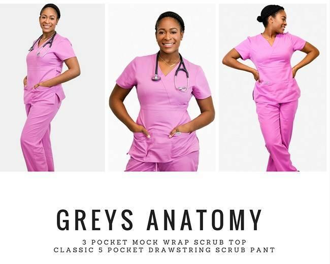 Nurse modeling pink scrubs