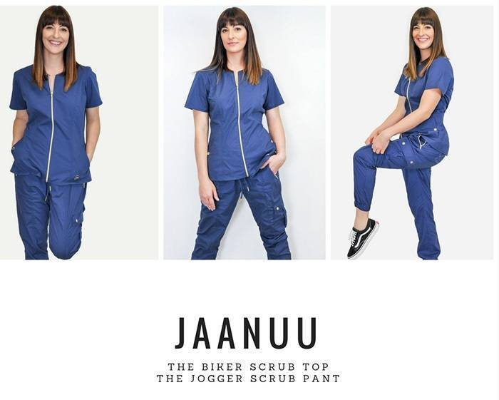 Blue stretchfit nurse scrubs with zipper