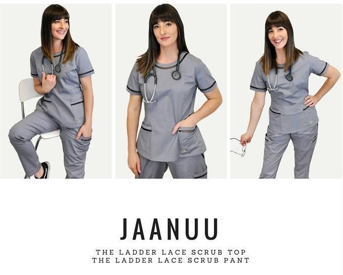 Model wearing new gray nurse scrubs