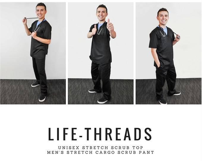 Nurse Blake wearing black nurse scrubs