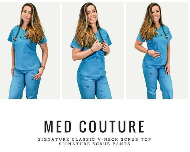 Nurse model wearing light blue scrubs