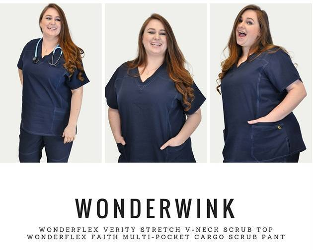 Nurse modeling dark blue scrubs