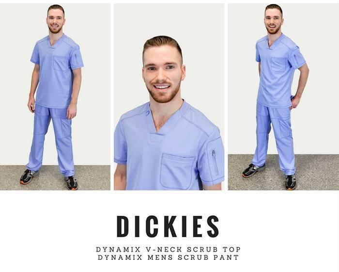 Male nurse wearing light blue scrubs
