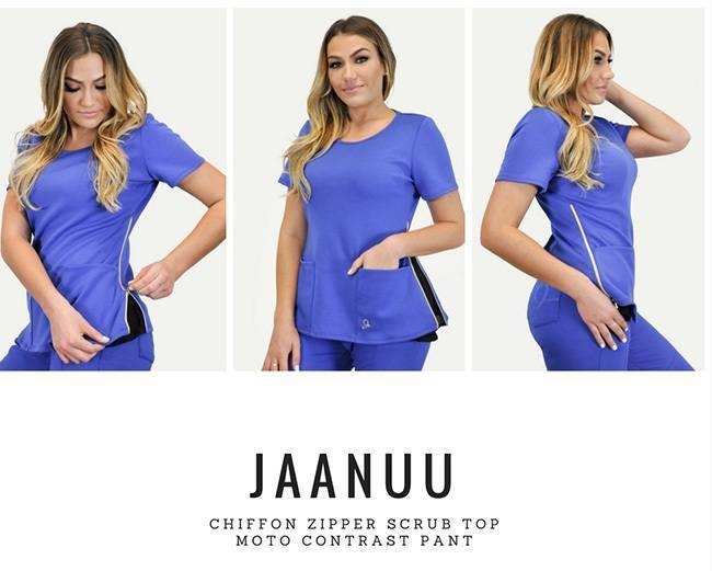 Blue nurse scrubs with zippable sides