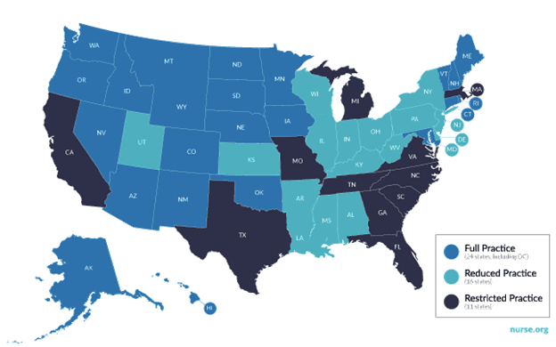 Map depicting practice authority for nurse practitioners in US