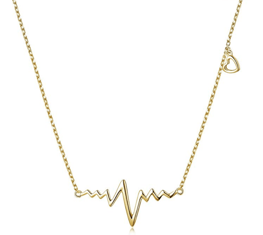Gold necklace with EKG heartbeat reading design