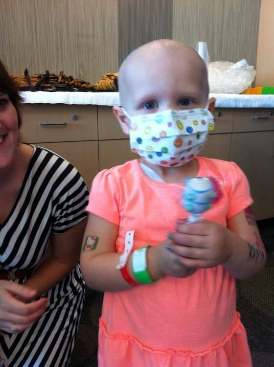 Child cancer patient with facemask