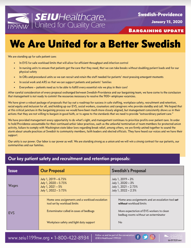 Union bargain with Swedish hospital in Seattle