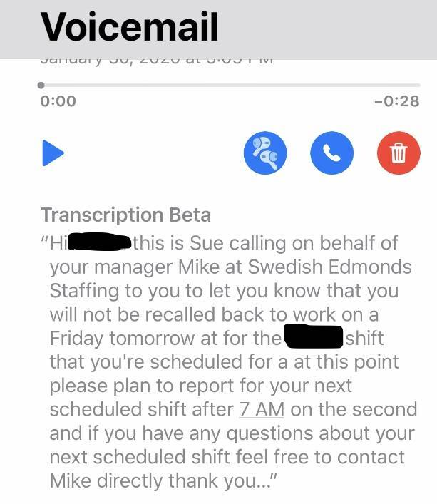 Text from voicemail detailing lockout of nurse