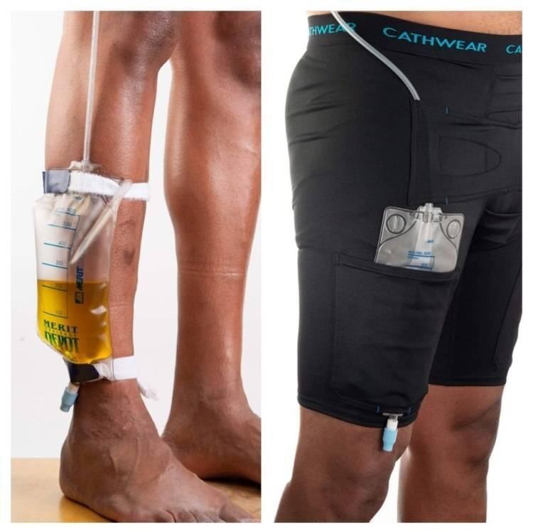 Cathwear model showing bag around ankle