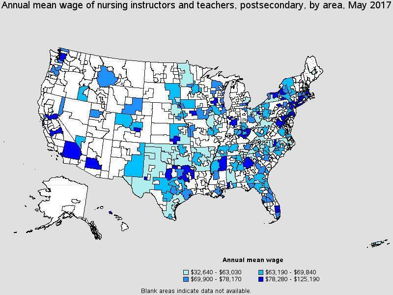 Map showing top paying U.S. regions for nurse educators